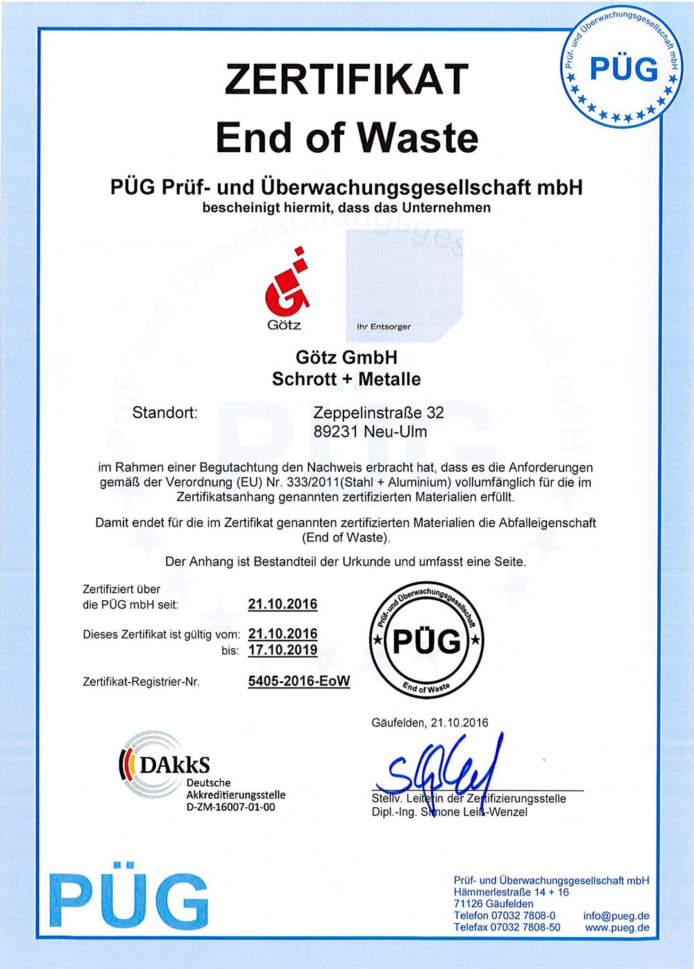End of Waste - Zertifikat der Götz GmbH
