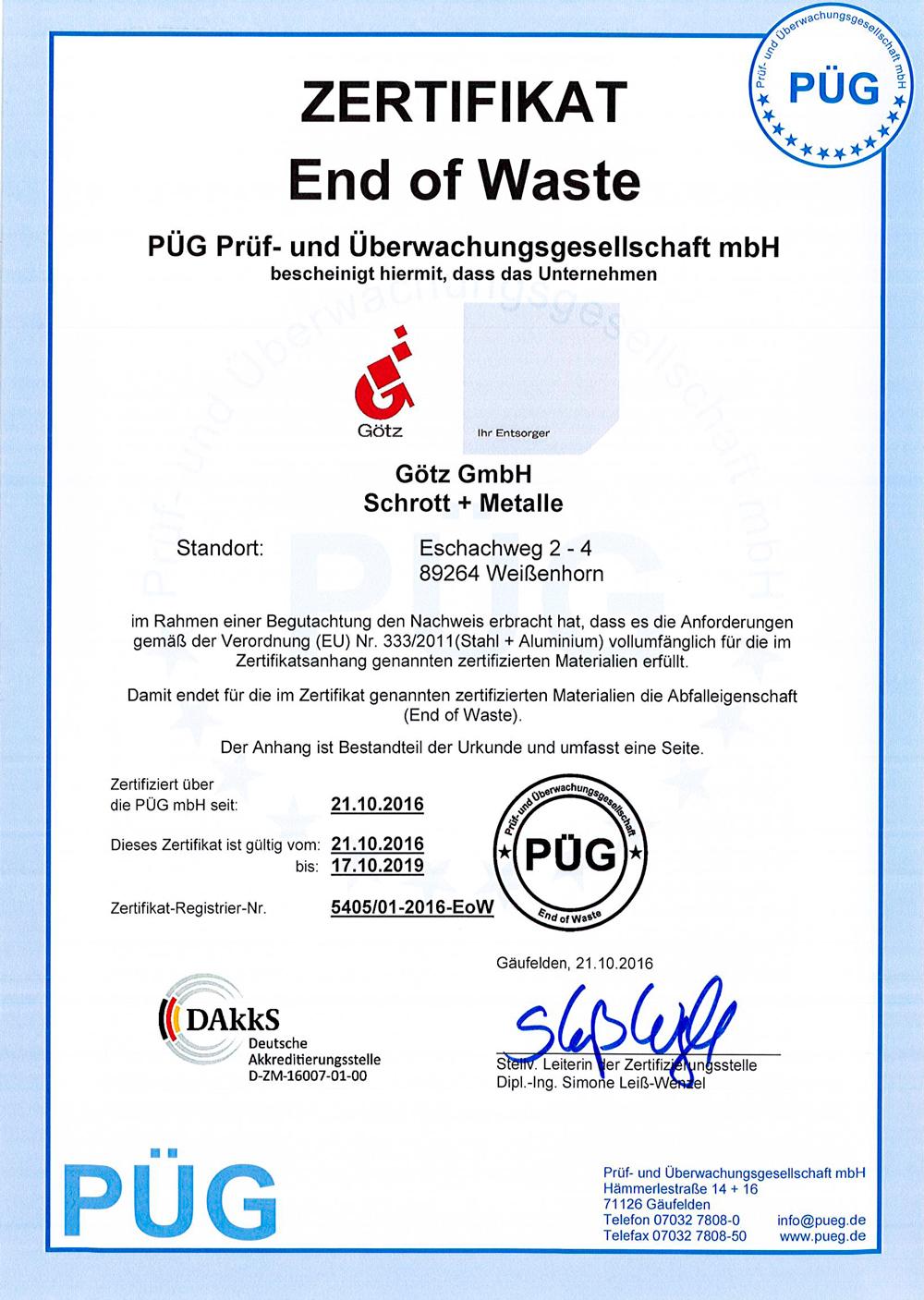 End of Waste - Zertifikat der Götz GmbH in Neu-Ulm